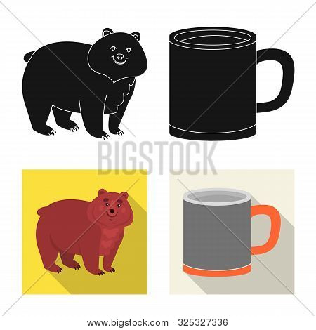 Vector Design Of Cookout And Wildlife Logo. Set Of Cookout And Rest Stock Vector Illustration.