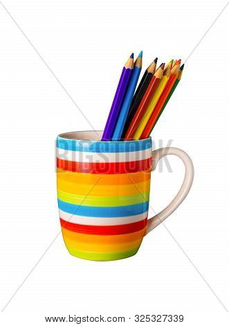 A Cup Colorful With Group Pencil All Color Isolated On White Background With Clipping Path