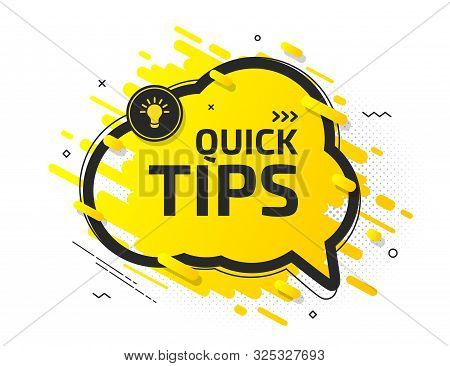 Quick Tips, Helpful Tricks, Hint. Tooltip With Suggestion Of Help. Yellow Banner With Useful Informa