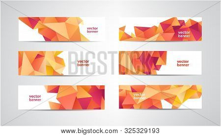 Vector Set Of Banners With Polygonal Geometric Background, Facet, Low Poly, Traingles Headers, Cover