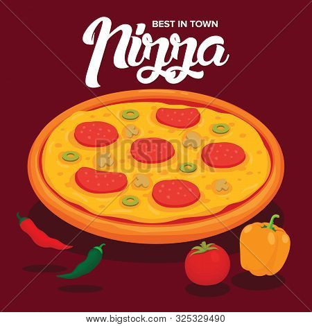 Tasty Cheesy Pizza With Chili Pepper, Tomato And Paprika Vector Illustration