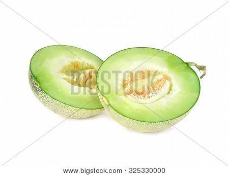 Half Cut Ripe Melon With Stem On White Background