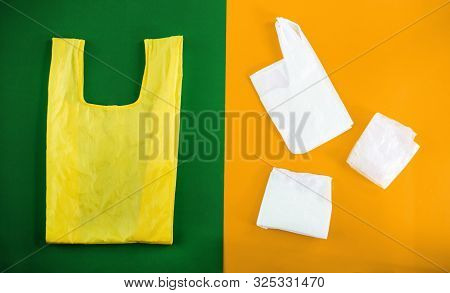 poster of Choice between plastic bag and eco.Bag canvas for mockup blank template on yellow and green background. Zero waste. Ecology and Environmental Save World Concept, No plastic bags.Handmade shopping bags.