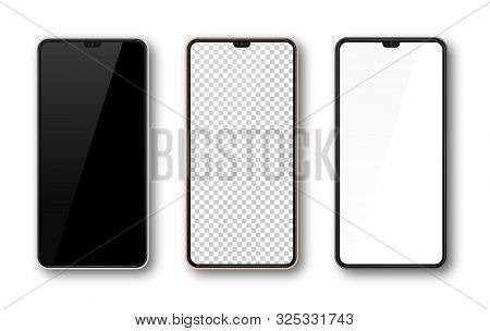 Realistic Smartphone Mockup Set. Mobile Phone Mock Up Screen For Your Design. Modern Digital Device