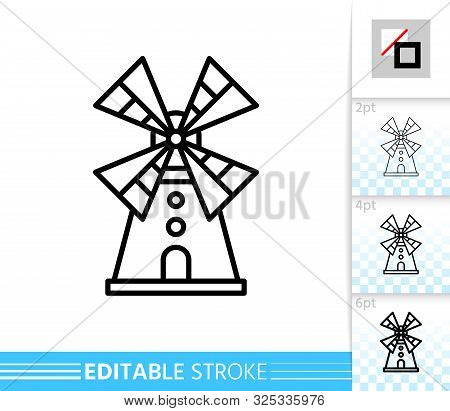 Windmill Single Line Icon. Farm Grain Flour Mill Flat Banner. Wind House Poster. Gristmill Linear Pi