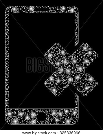 Glowing Mesh Wrong Smartphone With Sparkle Effect. Abstract Illuminated Model Of Wrong Smartphone Ic