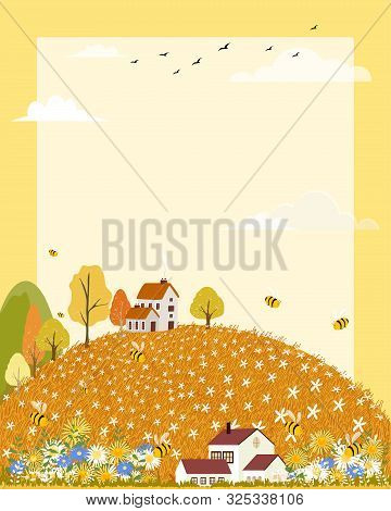 Vector Landscapes Of Countryside In Autumn,panoramic Of Cute Cartoon Village In Mid Autumn With Fiel