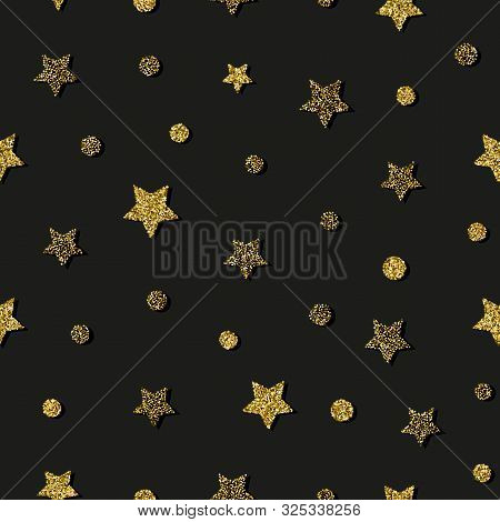 Star Gold Simple Seamless Pattern. Christmas, Holidays, Birthday Dark Background. Circle And Star Re