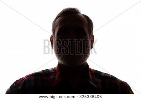 Portrait Of A Old Man, Unshaven, With Beard, Front View - Dark Isolated Silhouette