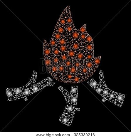Bright Mesh Wood Campfire With Lightspot Effect. Abstract Illuminated Model Of Wood Campfire Icon. S