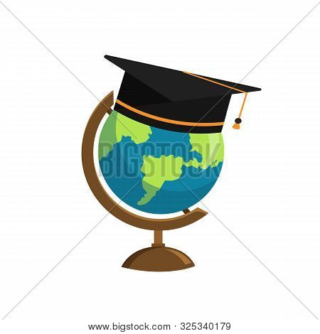 The Graduation Cap And Globe Icon Isolated On White Background. Education Concept. Vector Stock