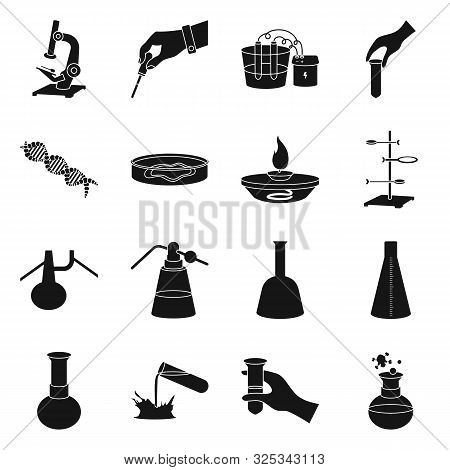 Vector Illustration Of Pharmacology And Experiment Sign. Set Of Pharmacology And Chemistry Stock Vec