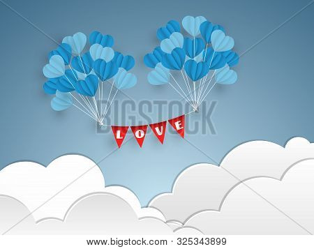 Vector Illustration Of Blue Tone Balloons In A Heart Shape Float With L, O, V, E Text On Red Flag On