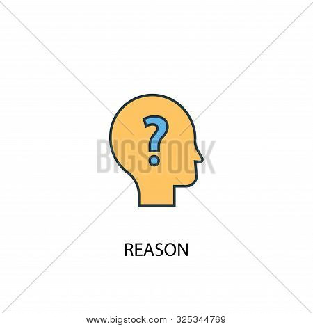 Reason Concept 2 Colored Line Icon. Simple Yellow And Blue Element Illustration. Reason Concept Outl
