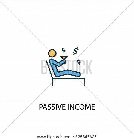 Passive Income Concept 2 Colored Line Icon. Simple Yellow And Blue Element Illustration. Passive Inc