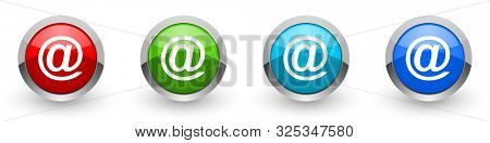 Email silver metallic glossy icons, set of modern design buttons for web, internet and mobile applications in four colors options isolated on white background