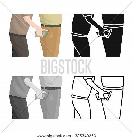 Vector Design Of Pickpocket And Theft Logo. Set Of Pickpocket And Money Vector Icon For Stock.