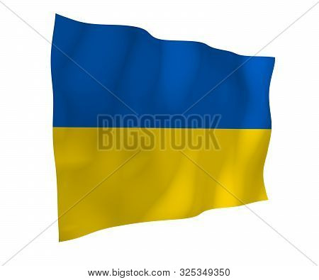 The flag of Ukraine on a white background. National flag and state ensign. Blue and yellow bicolour. 3D illustration waving flag poster
