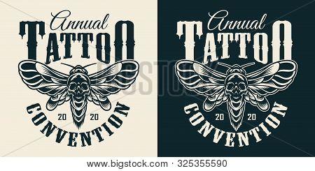 Tattoo Salon Vintage Monochrome Print With Spooky Death Head Moth With Skull Silhouette On Abdomen I