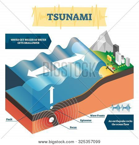 Tsunami Vector Illustration. Labeled Educational Huge Ocean Wave Explanation. Geological Natural Phe