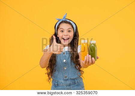 Put Like. Happy Little Child Gesture Thumbs Up For Food Product. Promoting Product. Promoting Health