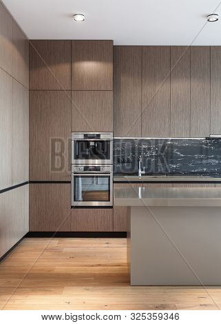 Vertical photo of house with modern interior design. Kitchen with wooden facade at cupboard, contemporary household appliance, coffee machine, sink with chrome water tap on worktop and laminate floor poster