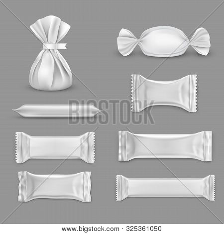 Set Of Isolated Blank Wrap For Candy. Design For Chocolate Package. Empty Wrapper For Sweets. Plasti