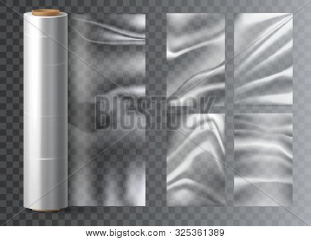 Isolated Light Polyethylene Plastic Food Wrap On Transparent. Polythene Wrapper For Snack Packaging.