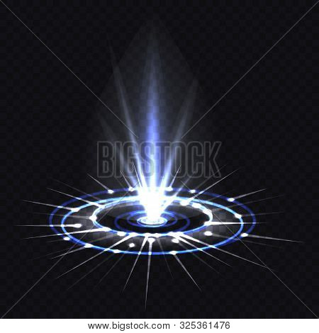 Hologram Blue Ray Or Ufo Portal, Magic Beam Or Projector Light, Futuristic Circle Spin Or Falling Vo