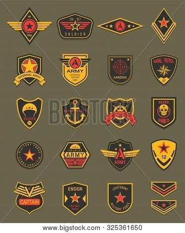 Military Patches, Chevrons And Army Badges Vector Templates. Marine Patrol, Naval And Air Military F
