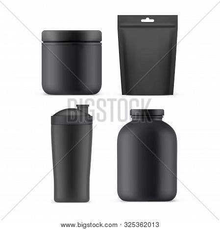 Sport Nutrition Packages, Vector Realistic Blank 3d Mockup Templates. Sport Food Supplements Plastic