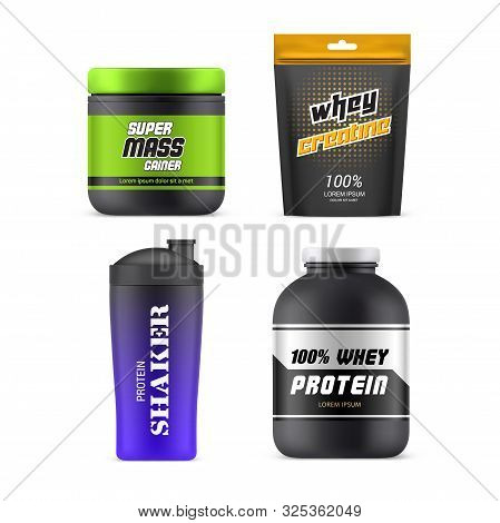 Sport Nutrition Packages, 3d Realistic Vector Mockup Templates. Whey Protein Plastic Jar, Mass Gaine