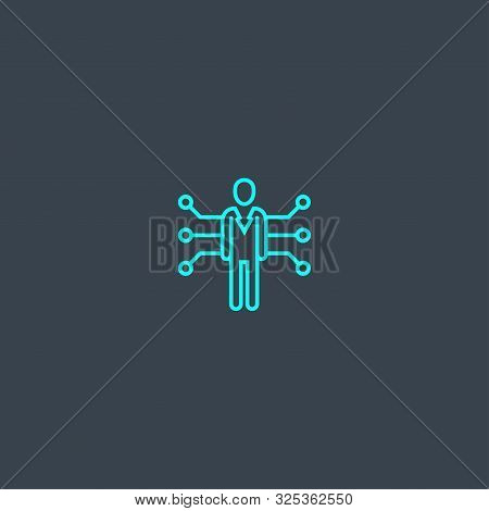 Competence Concept Blue Line Icon. Simple Thin Element On Dark Background. Competence Concept Outlin