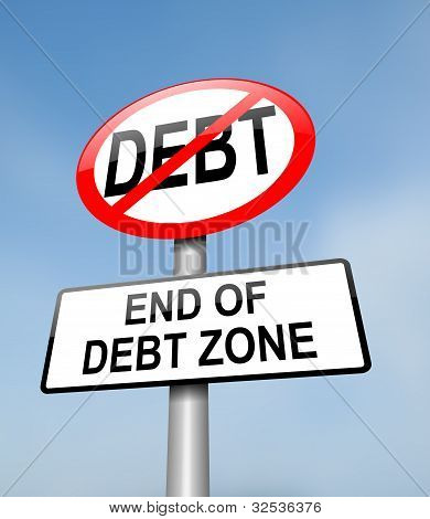 Illustration depicting a red and white road sign with a debt free concept. Blurred blue sky background. poster