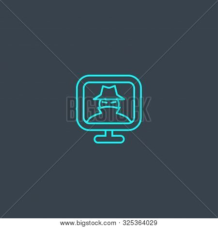 Spyware Concept Blue Line Icon. Simple Thin Element On Dark Background. Spyware Concept Outline Symb