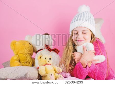Child Small Girl Playful Hold Teddy Bear Plush Toy. Kid Little Girl Play With Soft Toy Teddy Bear On