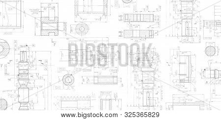 Drawing Details On A White Background .mechanical Engineering Drawing .parts For Industrial Construc