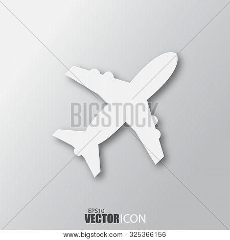 Aircraft Icon In White Style With Shadow Isolated On Grey Background. For Your Design, Logo. Vector