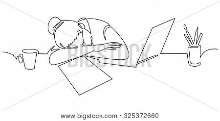 Girl Sleeping On Desk Continuous One Line Drawing . Tired Woman, Freelancer Leaning On Table Cartoon