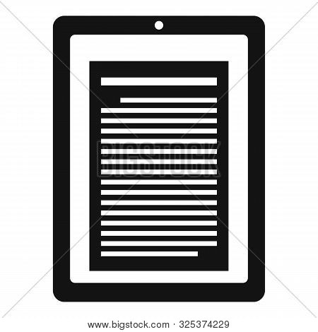 Reader Tablet Icon. Simple Illustration Of Reader Tablet Vector Icon For Web Design Isolated On Whit