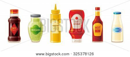 Sauce Set. Soy Wasabi Mustard Ketchup Hot Chili Mayonnaise Sauces. Food Icons With Text Logo On Plas