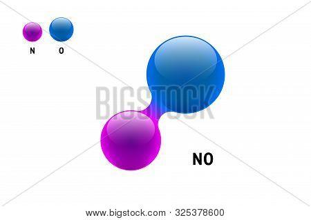 Chemistry Model Molecule Nitrogen Oxide No Scientific Element Formula. Integrated Particles Natural