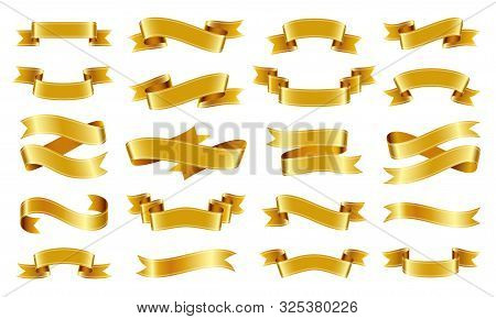 Gold Ribbon Scroll Realistic Set. Text Banner Sign Kit. Tape Pictogram Collection. Decoration Design