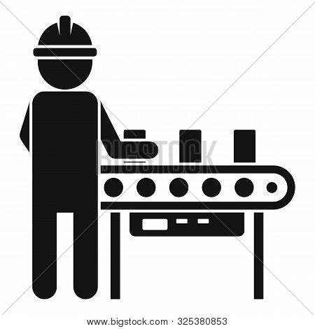 Man Assembly Line Icon. Simple Illustration Of Man Assembly Line Vector Icon For Web Design Isolated