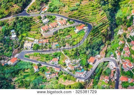 Aerial View Of A Village Curral Das Freiras, Madeira Island, Portugal. Rural Houses, Green Terraced