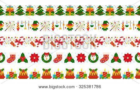 Christmas, New Year Simple Seamless Border Set. Xmas Color Flat Cartoon Pattern. Winter Holiday Stri