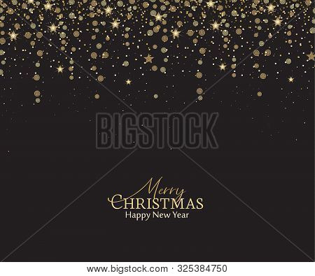 Vector Illustration Of A Christmas Background. Merry Christmas Card With Golden Stars. Gold Decorati