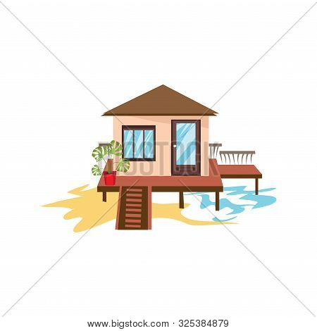 Hand Drawn Simple Overwater Bungalow With Stairs Vector Illustration