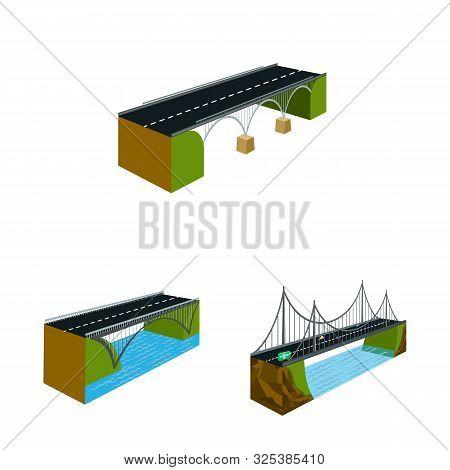 Vector Design Of Bridgework And Architecture Logo. Collection Of Bridgework And Structure Stock Vect