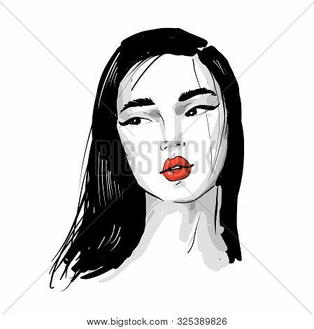 Asian Girl Fashion Romantic Portrait With Red Lips In Black And White.